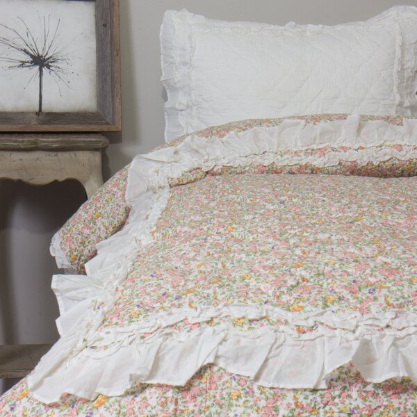 Addie Floral Ivory Single Quilt