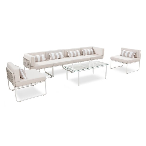 Silloth Outdoor 7 Piece Sectional Seating Group with Cushions by Freeport Park