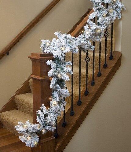 Pre-lit Heavily Flocked Pine Artificial Christmas Garland by Northlight Seasonal