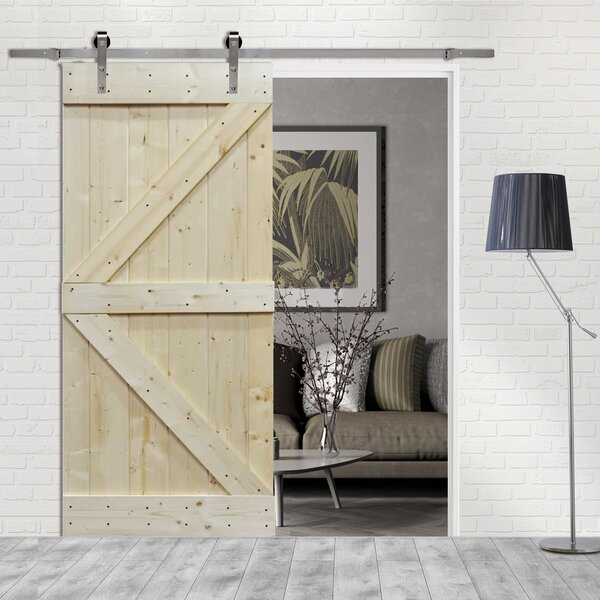 Solid Wood Room Divider Pine Interior Barn Door with Hardware Kit by Calhome