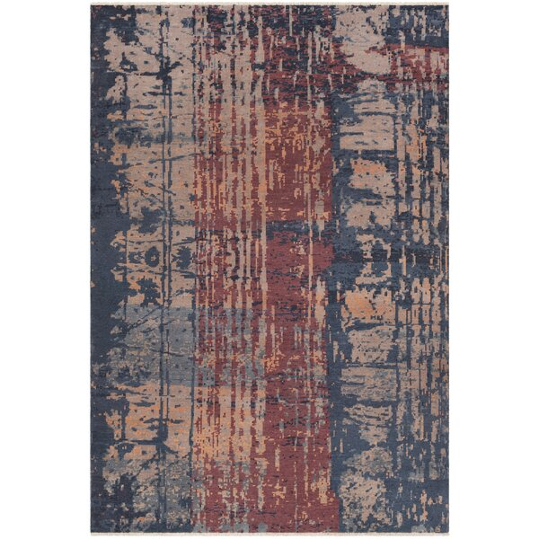 Pelayo Hand-Knotted Wool Navy/burgundy Area Rug By Bungalow Rose.
