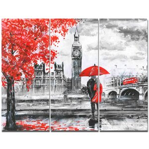 'Couples Walking in Paris' Graphic Art Print Multi-Piece Image on Canvas by Design Art