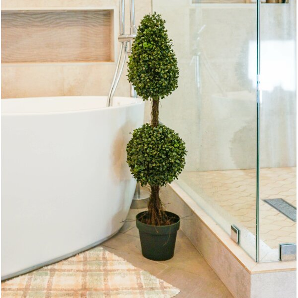 Artificial Double Ball-shaped Boxwood Topiary in Pot by Admired by Nature