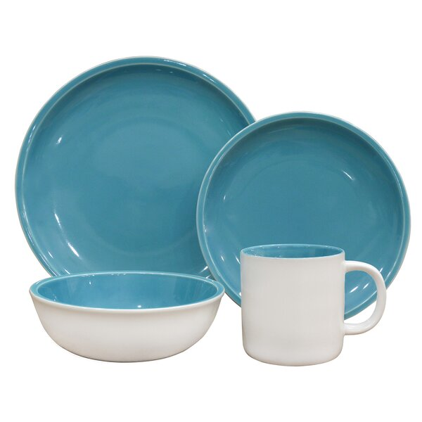 Coastal 16 Piece Dinnerware Set, Service for 4 by Over and Back