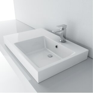 Best Reviews Vitreous China Rectangular Vessel Bathroom Sink with Overflow ByCantrio Koncepts