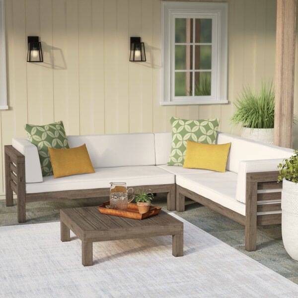 Seaham 4 Piece Sectional Seating Group with Cushions by Brayden Studio