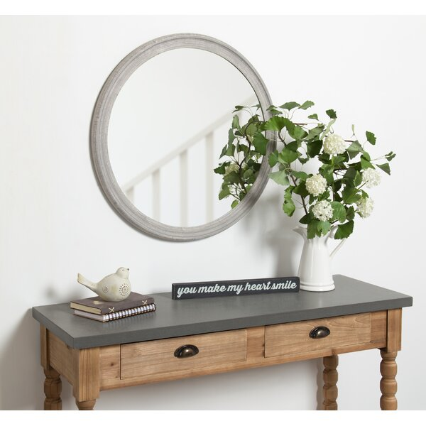 Kate And Laurel Man Round Wooden Decorative Accent Wall Mirror 28 Inch Diameter Distressed Grey