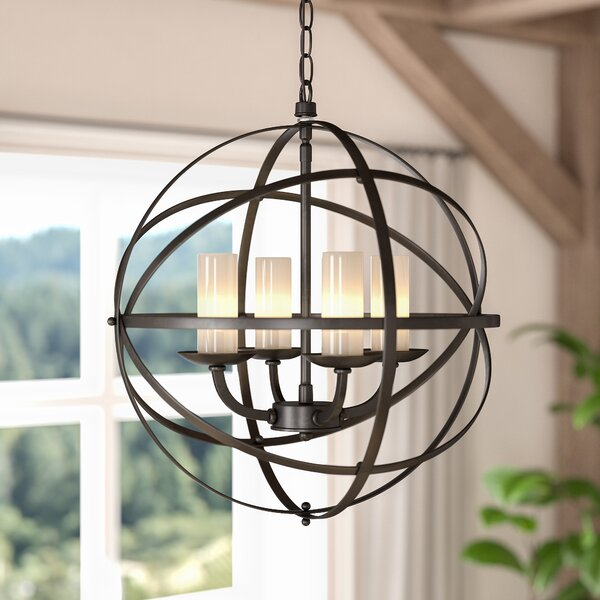 Newark 4-Light Shaded Globe Chandelier by Darby Home Co Darby Home Co