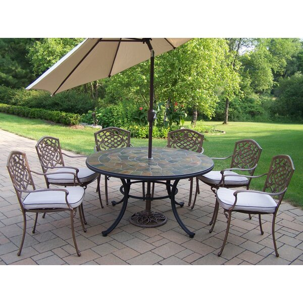Neche Dining Set with Cushions and Umbrella by Winston Porter