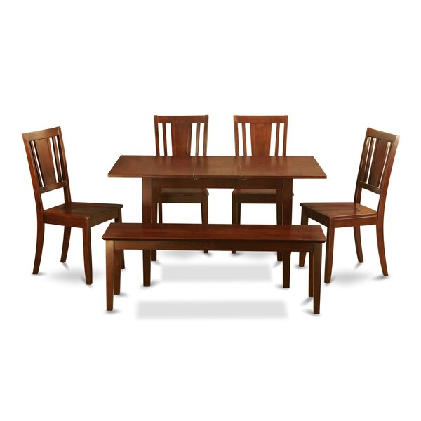 Balfor 6 Piece Extendable Breakfast Nook Solid Wood Dining Set by Andover Mills Andover Mills