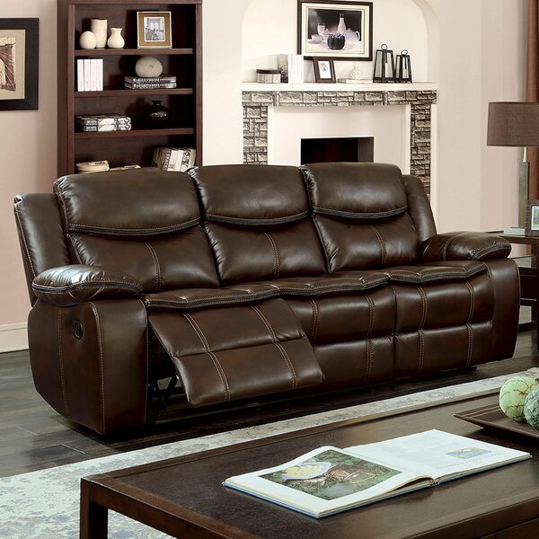 Helmer Leather Reclining Sofa by Red Barrel Studio