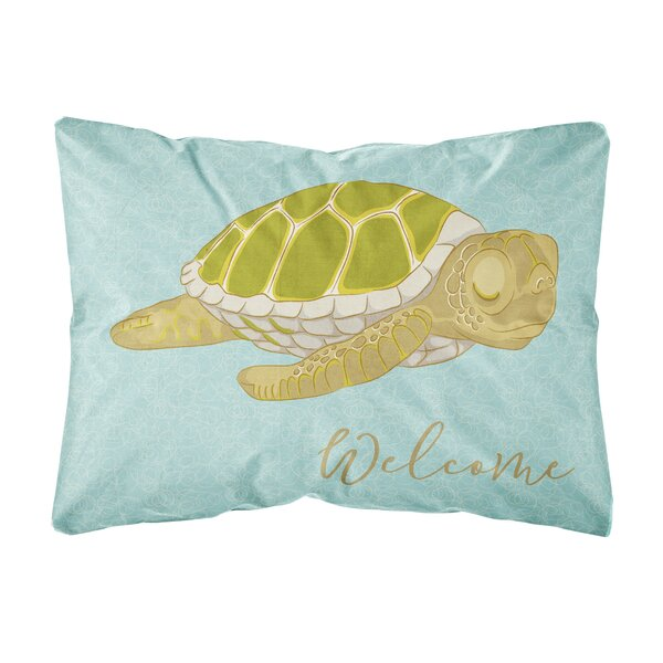 Piers Sea Turtle Welcome Indoor/Outdoor Throw Pillow by Highland Dunes