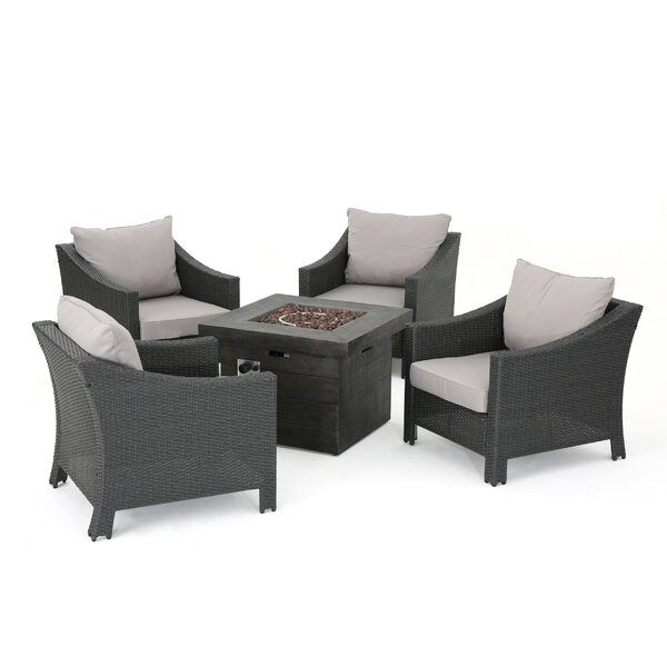 Shadai Wicker 5 Piece Rattan Conversation Set with Cushions by Red Barrel Studio