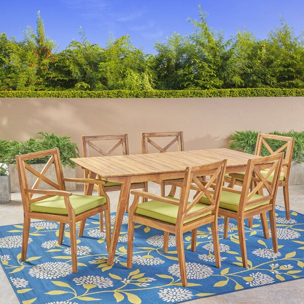 West Adams 7 Piece Teak Dining Set with Cushions by Highland Dunes