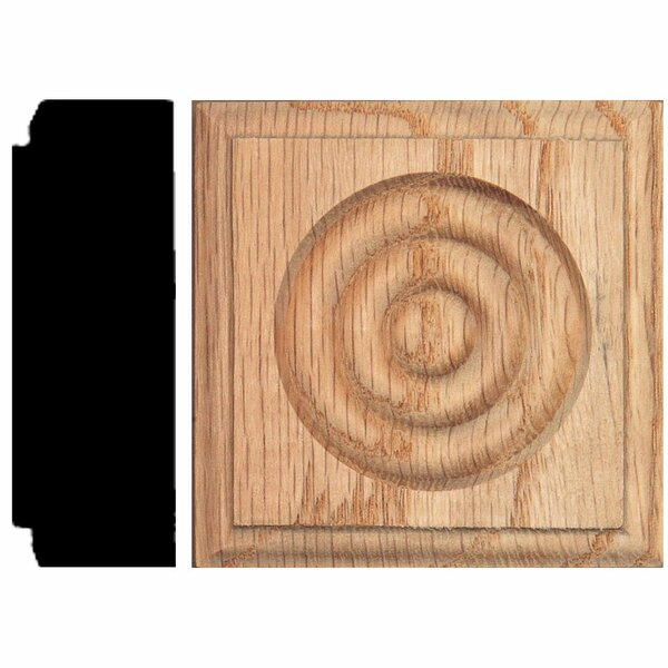 7/8 in. x 2-1/2 in. x 2-1/2 in. Oak Rosette Block Moulding by Manor House