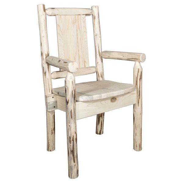 Riddle Rustic Captain's Solid Wood Dining Arm Chair by Loon Peak