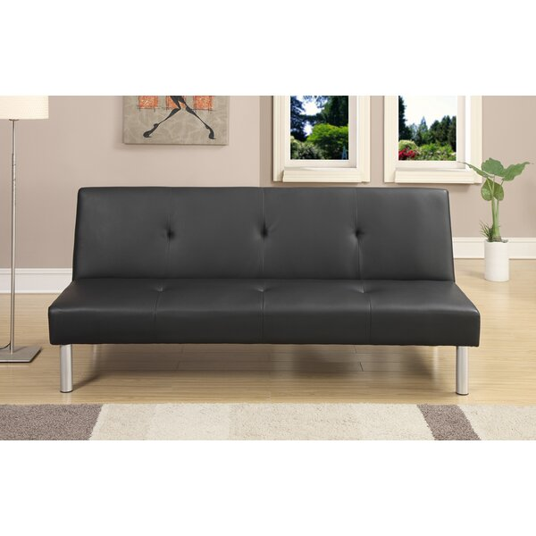 Chea Faux Leather Adjustable Convertible Sofa by Ebern Designs