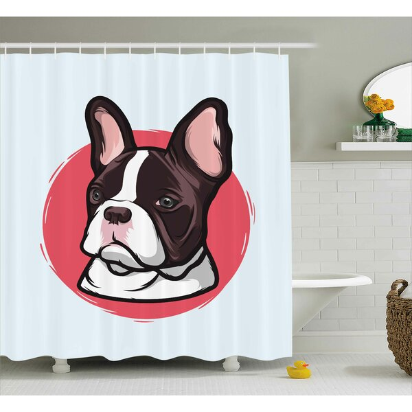 Maryellen Animal Cute French Bulldog Portrait Hipster Purebred Creature Pet Illustration Shower Curtain by Ebern Designs