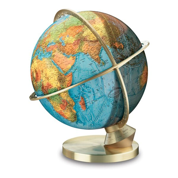 Marco Polo Illuminated Desktop Globe with Stainless Steel Base by Columbus Globe