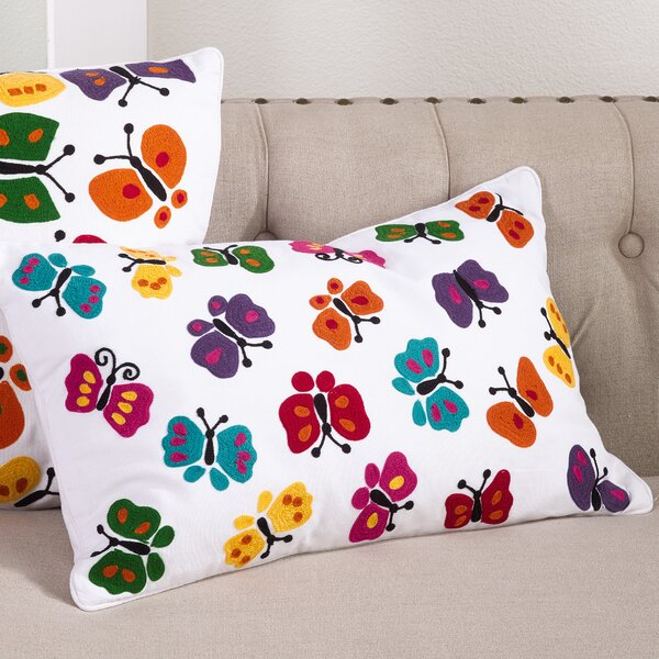 Hahai Embroidered Butterfly Applique Down Filled Lumbar Pillow by Saro