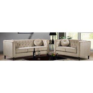 Edwina 2 Piece Velvet Living Room Set by Mercer41