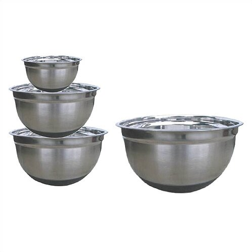 4 Piece Stainless Steel Mixing Bowl Set with Silicone Bottoms by Starcraft