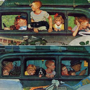 'Coming And Going' by Norman Rockwell Painting Print on Wrapped Canvas by Marmont Hill