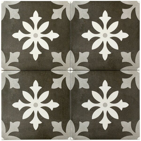 Anabella 9 x 9 Porcelain Field Tile in Picasso Nero by Splashback Tile