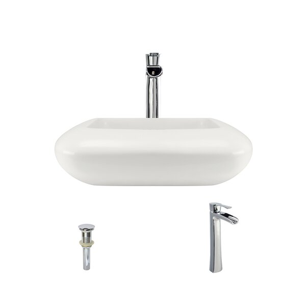 Pillow Top Vitreous China Square Vessel Bathroom Sink with Faucet by MR Direct