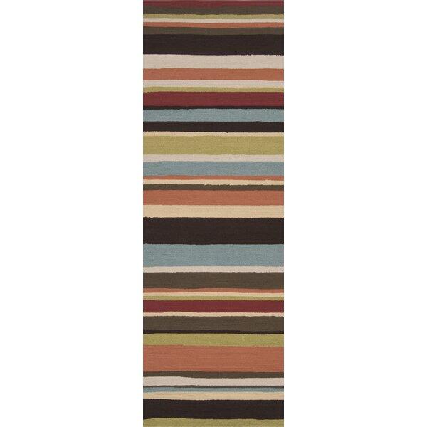 Cynthia Parchment/Khaki Stripe Indoor/Outdoor Rug by Winston Porter