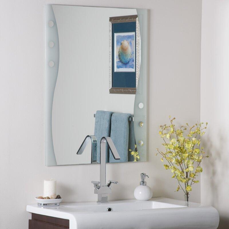 Decor wonderland frameless maritime wall mirror reviews for Wayfair store