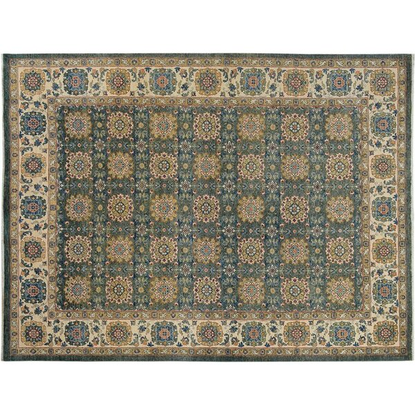 Badham Hand-Knotted Wool Green/Ivory Area Rug by Bloomsbury Market