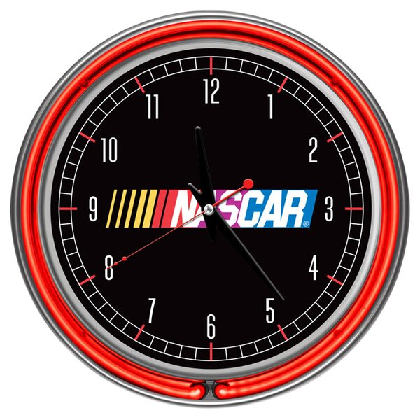 NASCAR 14.5 Double Ring Neon Wall Clock by Trademark Global
