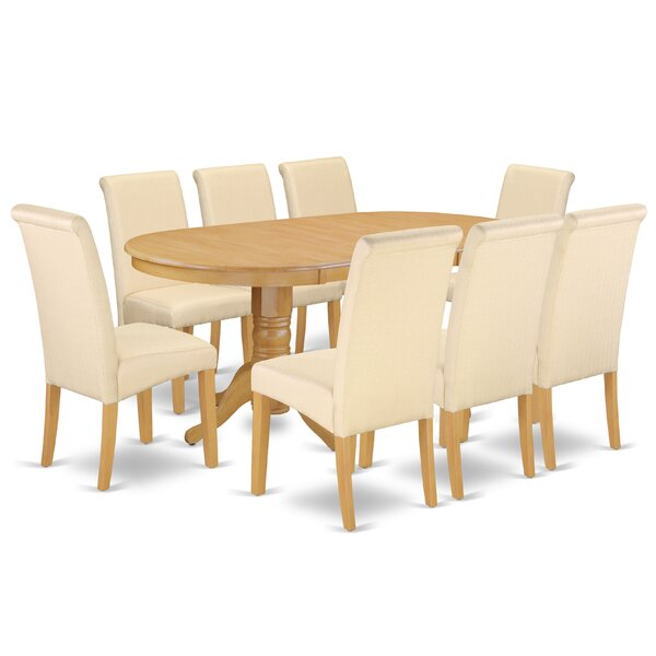 Pardue Oval Room Table 9 Piece Extendable Solid Wood Dining Set by Charlton Home
