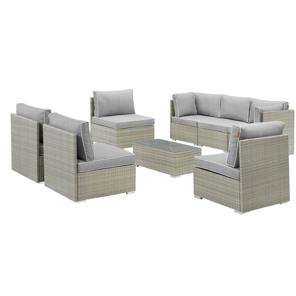 Heinrich Outdoor Patio 8 Piece Rattan Sectional Seating Group with Cushions by Highland Dunes