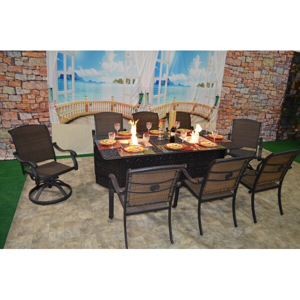 Adela 9 Piece Dining Set with Firepit by Darby Home Co