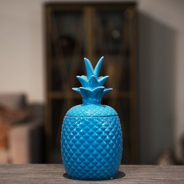 Ceramic Pineapple Decorative Box by Urban Trends