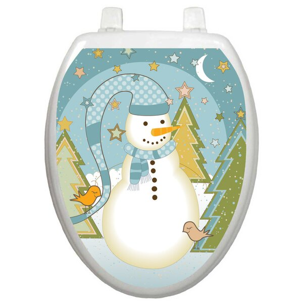 Holiday Folk Snowman Toilet Seat Decal by Toilet Tattoos