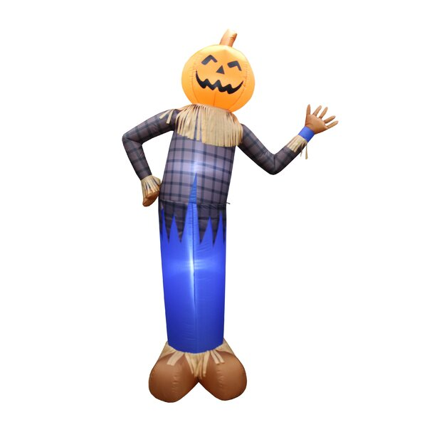 6 Foot Tall Scarecrow with Pumpkin Head Yard Decoration Inflatable by The Holiday Aisle