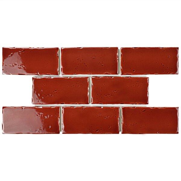 Frisia Subway 2.5 x 5.13 Ceramic Subway Tile in Burgundy by EliteTile