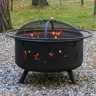 Steel Wood Fire Pit with Cooking Grill by SunnyDaze Decor