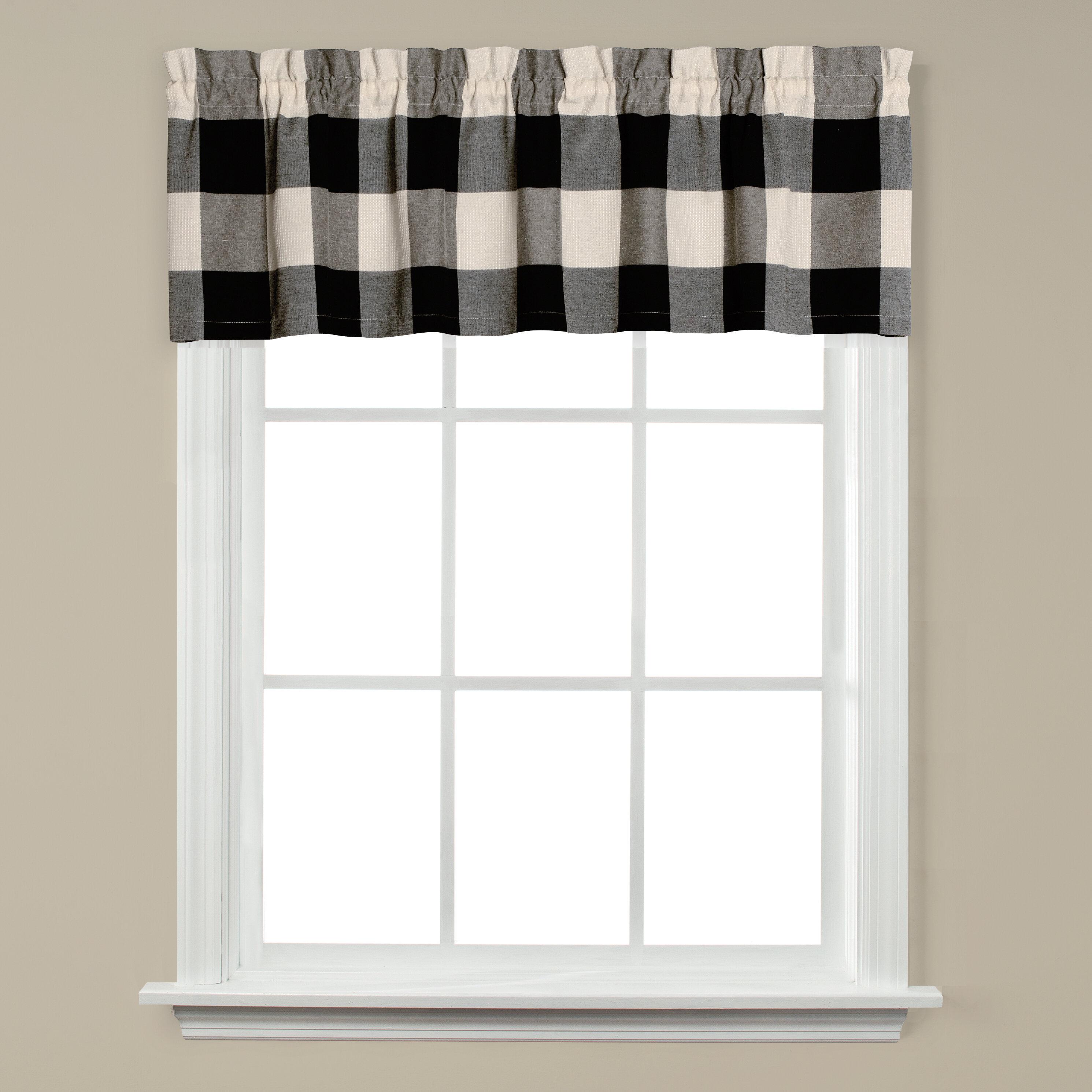 Modern Farmhouse Window Pane White and Black Curtain Valance