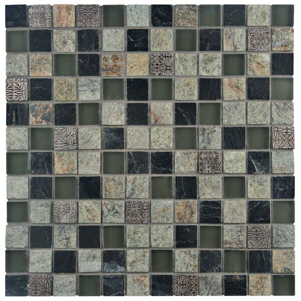 Abbey 0.88 x 0.88 Natural Stone and Metal Mosaic Tile in Fauna Verde by EliteTile