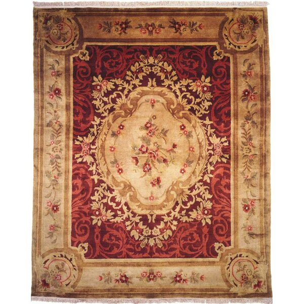 Hand-Knotted Red/Beige Area Rug by Meridian Rugmakers