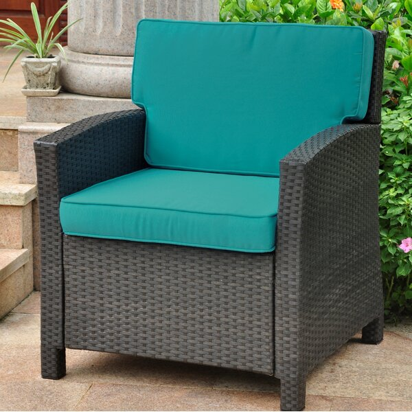 Binney Wicker Resin Contemporary Patio Chair with Cushion by Three Posts