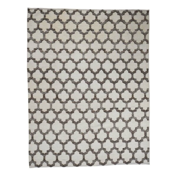One-of-a-Kind Wroten Berber with Oriental Hand-Knotted Ivory Area Rug by Loon Peak
