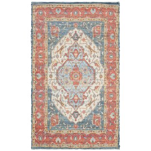 Abington Hand-Loomed Cotton Fuchsia/Blue Area Rug by Bungalow Rose