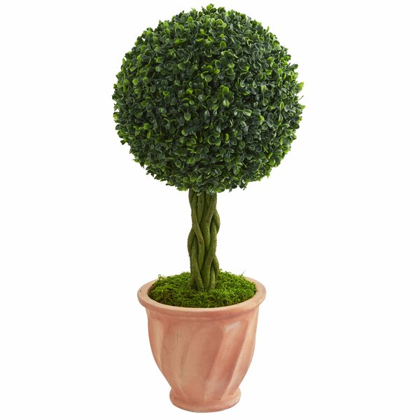 Ball Artificial Floor Boxwood Topiary in Planter by Fleur De Lis Living