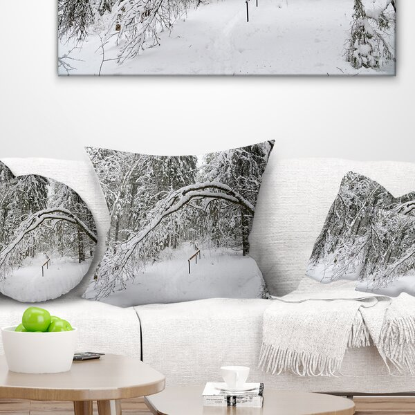 Foggy Winter Forest Pillow by East Urban Home