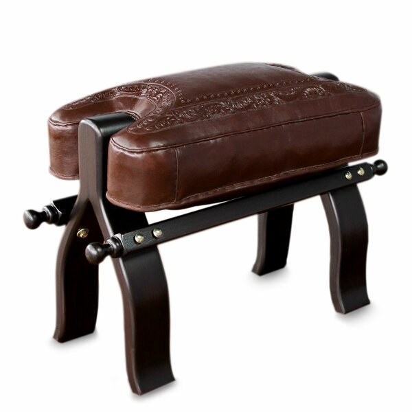 Colonial Wreath Mohena Wood and Leather Stool by Novica
